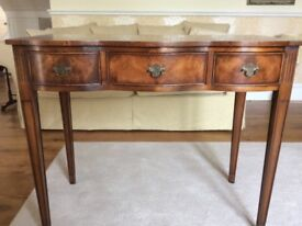 Antique three drawer serpentine front side table