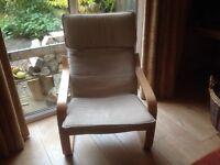 IKEA Poang Chair Cream Linen Cover Excellent Condition