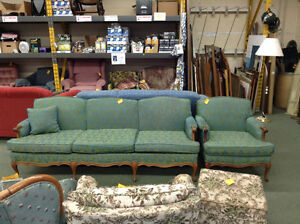 Teal/green antique couch and chair