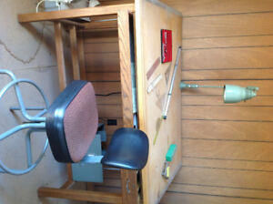 DRAFTING TABLE, CHAIR AND LIGHT