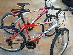 2 adult Supercycle mountain bikes