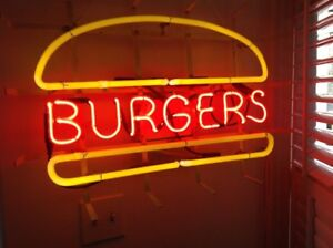 """Very large 1960-1970 MCM NEON SIGN.."""".BURGERS"""""""
