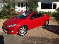 Red Peugeot 206 Convertible