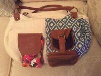 Cash Di Borse, shoulder/handbag, large, multi pocketed, canvas/leather new