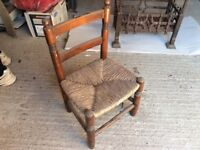 Child's Oak and Rush Seat Ladderback Chair