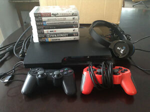 PS3 250gb with 7 games and headset