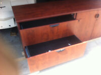 Side Cabinet / Desk with Filing Drawers and 2 shelf unit