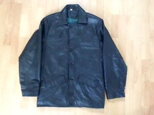 Black Leather Car Coat (Men's) West Island Greater Montréal image 1