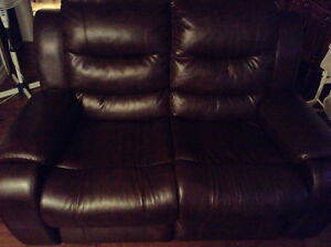 Brown leather love sofa, mint condition
