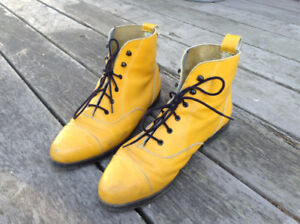 Yellow Leather Punk Boots