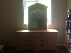Bedroom dresser with mirror and armoire