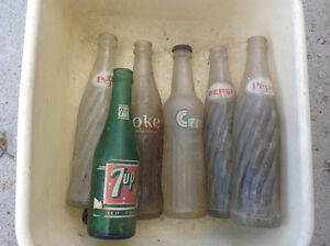 ANTIQUE COCA-COLA, CRUSH, PEPSI, 7-UP BOTTLES