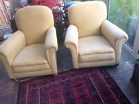 Two Art Deco vintage fire side chairs in his n hers