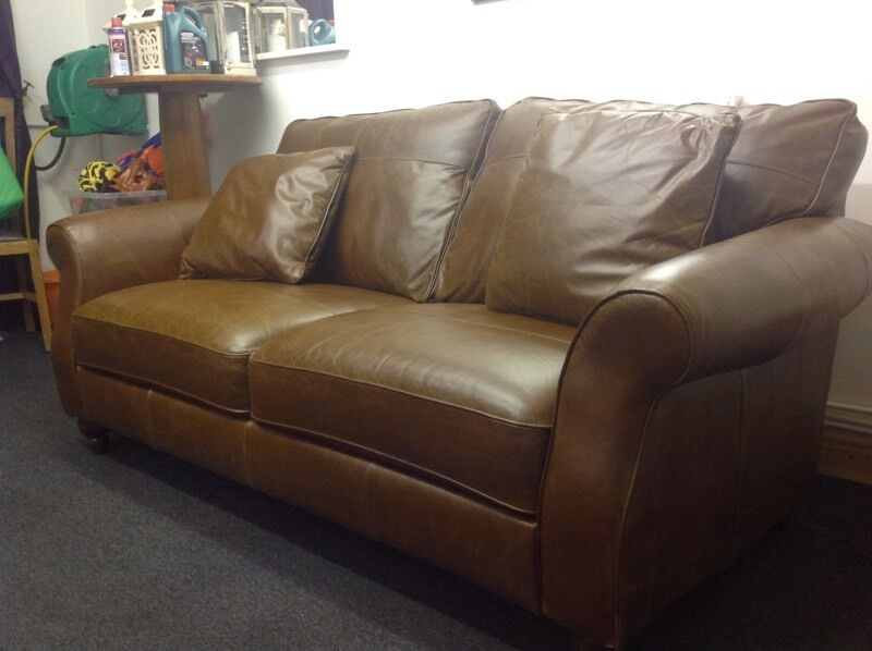 Next Sofa Ashford Brown Leather 3 Seater
