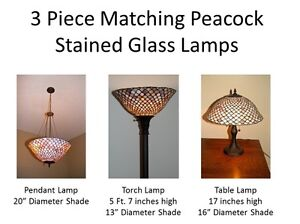 3 Piece Stained Glass Lamp Set for Dining Room / Sitting Room London Ontario image 1
