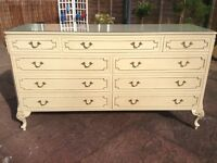 French rococo style sideboard with glass top with 9 drawers plus a matching 3 way mirror