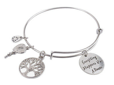 1Pcs Expandable Wire Bangle Everything Happens For A Reason Charm Bracelet