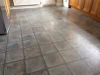 Laminate flooring, grey tile effect