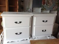 SET OF WHITE BED SIDE TABLES