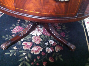 English Rotating Mahogany Drum Table With Embossed Leather Top Peterborough Peterborough Area image 2