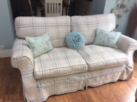 Laura Ashley three seater settee in cream and duck egg blue check fabric,