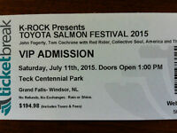VIP ticket to Salmon Fest in Grand Falls-Windsor on July 11