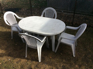 Resin Grey Patio Set, 4 Chairs & Oval Table 4.5 ft. L, 3 ft. W