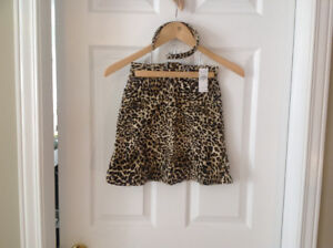 Girl's Children's Place Leopard Skirt and Headband