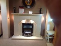 "Plain Arch 54"" Coral Cream Ex Display Fireplace With Lights"