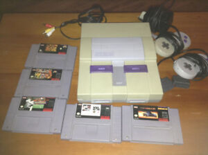 Super Nintendo system lot with 5 games