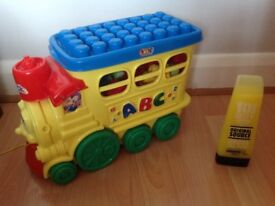 Small Bundle of Building Blocks Plus a Train Storage Pull Along Box