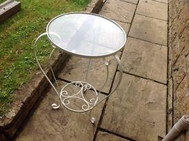 Metal table glass top