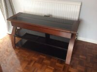 TV stand, wood and glas