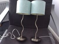 Pair of brushed steel bedside lamps