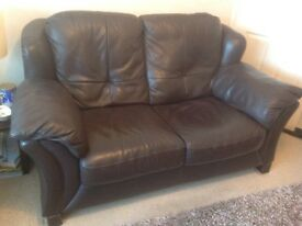 Sofa and chair in brown leather made in Italy