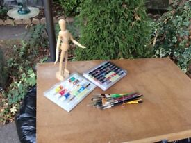 New box of watercolour paints & new oil pastels, Wooden manakin, brushes.