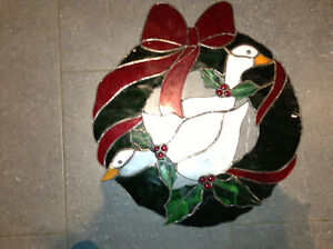 Stained glass Christmas wreath for sale London Ontario image 1
