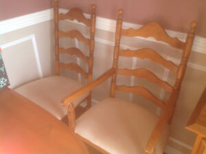 Canadian made solid wood dinning table and 8 chairs for sale