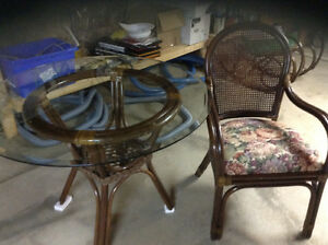 Rattan table and matching chairs