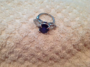 Faux sapphire and Cz. Ring