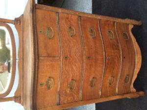 Solid ribbon oak antique dresser for sale