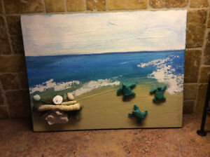 Whimsical wall art. Baby sea turtles dash to the water.