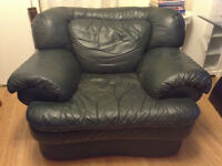 Green real Leather Arm Chair (huge)