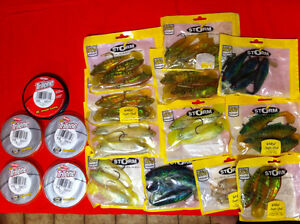 *12 bags Storm Swimmin Shad & 5 spools new trilene price reduced