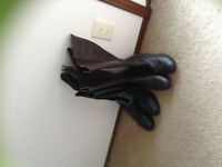 Leather high calf boots