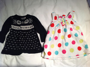 Two warm dresses, size 6 mos
