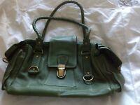 Unused green leather handbag