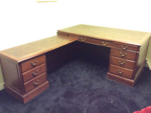 Desk - L shaped secretary desk with leather top