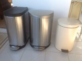 Three Kitchen Pedal Bins