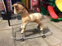 Vintage Childs rocking/pull along horse needs tlc